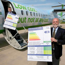 Flybe's Chief Executive Mr Jim French with one of Flybe's Eco Labels